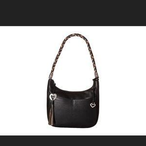 Brighton Barbados Black Leather Hobo Bag
